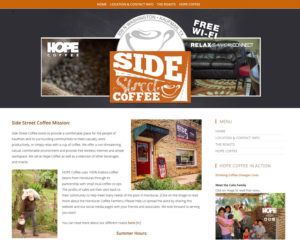 preview of Side Street Coffee website